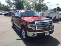 Clean CARFAX. Maroon 2014 Ford F-150 Lariat 4WD 6-Speed