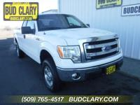 Clean CARFAX. White 2014 Ford F-150 XLT 4WD 6-Speed