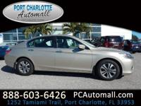 CARFAX One-Owner. Champagne 2014 Honda Accord LX FWD