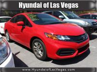 CARFAX One-Owner. Rallye Red 2014 Honda Civic LX FWD