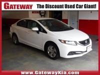 WHITE HONDA LX HAS A CLEAN CARFAX..NO ACCIDENTS!,