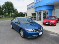 Honda Certified 2014 Civic LX. Gasoline! All the right