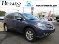 2014 Honda Certified CR-V EX-L Blue AWD.  30/22