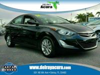 CARFAX One-Owner. Phantom Black 2014 Hyundai Elantra SE