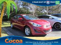 This 2014 Hyundai Elantra SE in Red features: Clean