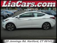 2014 Hyundai Elantra in Pearl White. The sum of the