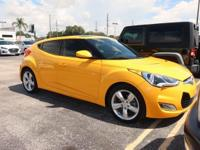 Clean CARFAX. Certified. Yellow 2014 Hyundai Veloster
