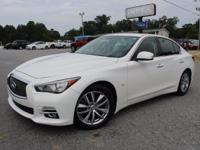 *One Owner*. Q50 Premium, 4D Sedan, Moonlight White,
