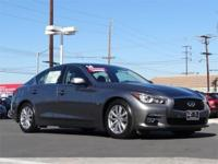 Stunning 2014 Q50 sports sedan in Graphite Gray with