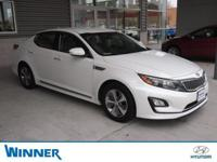 Clean CARFAX. Snow White Pearl 2014 Kia Optima Hybrid
