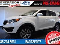 Kia Certified, Clear White, and 2014 Kia Sportage. Call