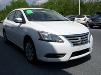 White 2014 Nissan Sentra SV FWD CVT with Xtronic 1.8L