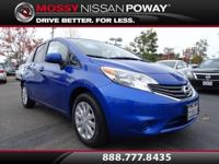 Clean Carfax. Versa Note SV and Metallic Blue. Get