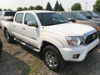 Clean CARFAX. White 2014 Toyota Tacoma V6 4D Double Cab