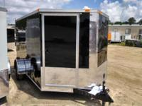 7x12 SA Enclosed Cargo Trailer Door in V-nose Black.
