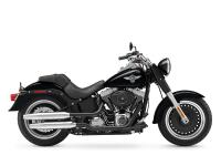 The Harley Fat Boy Lo model features a powerful