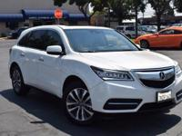 CARFAX One-Owner. Clean CARFAX. White 2015 Acura MDX