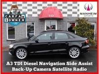 Navigation, Diesel, Back-Up Camera! 2015 Audi A3 2.0