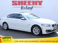 CARFAX One-Owner. White 2015 BMW 5 Series 528i xDrive