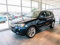 Certified. Clean CARFAX. Deep Sea Blue 2015 BMW X3