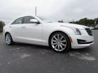 Certified. White 2015 Cadillac ATS 2.5L Luxury RWD