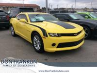 Clean CARFAX. Bright Yellow 2015 Chevrolet Camaro 1LT