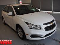 Clean CARFAX. WHITE 2015 Chevrolet Cruze 1LT FWD