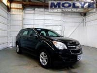 This 2015 Jet Black Chevrolet Equinox LS with black
