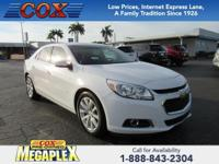 This 2015 Chevrolet Malibu LT in Summit White is well