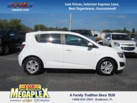 This 2015 Chevrolet Sonic LT in White is well equipped