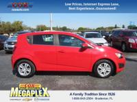 This 2015 Chevrolet Sonic LT in Red Hot is well