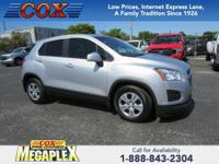 Certified. This 2015 Chevrolet Trax LS in Silver Ice