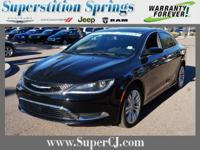 Clean CARFAX. Black 2015 Chrysler 200 Limited FWD