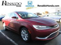 2015 Chrysler 200 Limited Red Cloth.  CARFAX One-Owner.