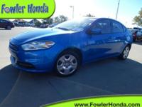 One Owner Clean Carfax. Dart SE, 4D Sedan, 6-Speed