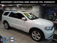 Certified. Bright White Clearcoat 2015 Dodge Durango