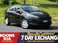 2015 Ford Fiesta S Tuxedo Black Equipment Group 100A.