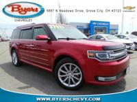 Clean CARFAX. Maroon 2015 Ford Flex Limited AWD 6-Speed