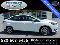 Clean CARFAX. White 2015 Ford Focus SE FWD 6-Speed