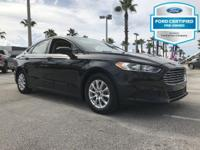 Certified. Tuxedo Black 2015 Ford Fusion S FWD 6-Speed