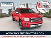 Certified. Cardinal Red 2015 GMC Canyon SLE1 All