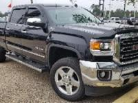 Certified. Onyx Black 2015 GMC Sierra 2500HD SLT 4WD