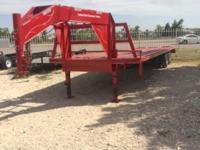 "red 32' low profile gooseneck 10k axles 3 ramps 102"""
