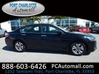 CARFAX One-Owner. Black 2015 Honda Accord LX FWD CVT