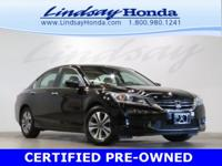 Certified. Crystal Black Pearl 2015 Honda Accord LX FWD