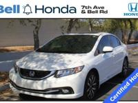 New Price! Certified. CARFAX One-Owner. Civic EX-L, 4D