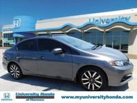 CARFAX One-Owner. GRAY 2015 Honda Civic EX-L FWD CVT