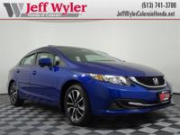 CARFAX One-Owner. Blue 2015 Honda Civic EX FWD CVT 1.8L