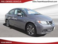 CARFAX One-Owner. Gray 2015 Honda Civic EX FWD CVT 1.8L