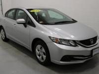 New Price! Gray Cloth. 2015 Honda Civic LX Alabaster